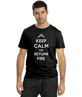 Keep Calm And Return Fire Shirt Funny T Shirts Gun Right T Shirt Republican Top Tees Short Sleeve Crew Neck Broadcloth