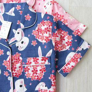 Image 3 - Cartoon lapin à manches courtes vêtements de nuit été mince 100% coton Double couche fil femmes pyjamas impression vêtements de nuit vêtements de maison