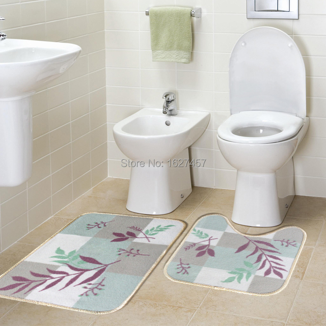 Toilet Mats Bathroom Carpet Set Modern Brief Fashion Bath Mat Twinset  Slip Resistant Rugs And