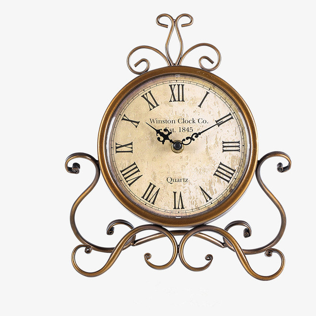 Creative American Retro Desk Clock Living Room Bedroom Mute Bedside Clock  Wrought Iron Decorative Table Clock