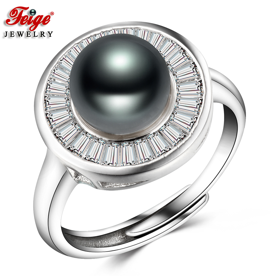 Classic Design Freshwater Pearl Ring For Ladies Social gathering Jewellery Items 8-9Mm Black Pearls Cubic Zirconia Rings Positive Jewellery Feige