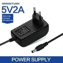 1PCS 5V2A New AC 100V-240V Converter Adapter DC 5V 2A 2000mA Power Supply EU Plug DC 5.5mm x 2.1mm Free post shipping