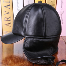 XdanqinX Genuine Leather Hat Mens Winter Warmth Bomber Hats New Men Thicken Plush Sheepskin Earmuffs Cap Middle-aged