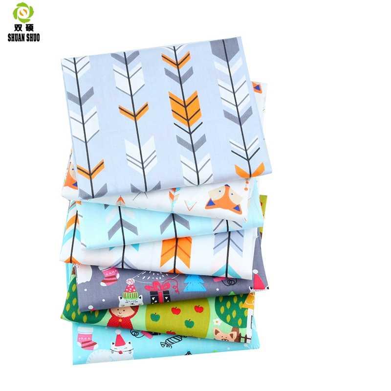 Shuanshuo 7 pz/lotto Nuova Serie di Cartoni Animati di Cotone Della Rappezzatura del Tessuto Grasso Quarti Fasci di Tessuto Per Cucire Bambola Panni 40*50cm