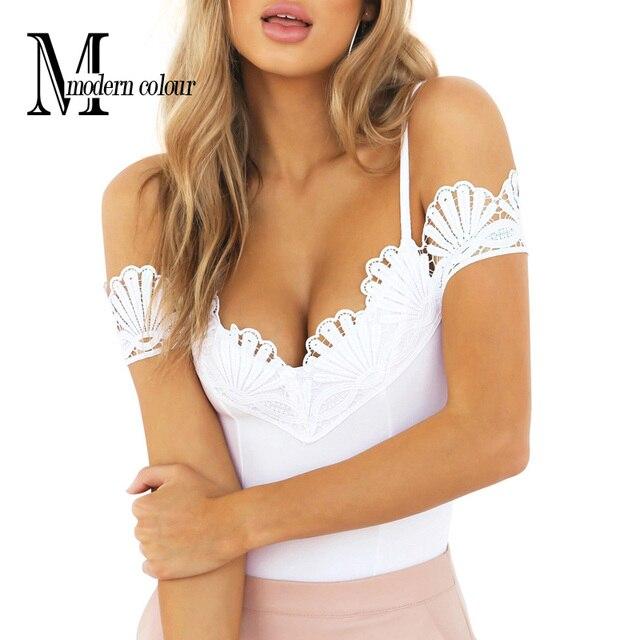 Вязание крючком Кружева Боди Белый Черный Летом 2017 Мода Спагетти Ремень Боди Femme Европейский С Плеча Сексуальная Боди Женщины