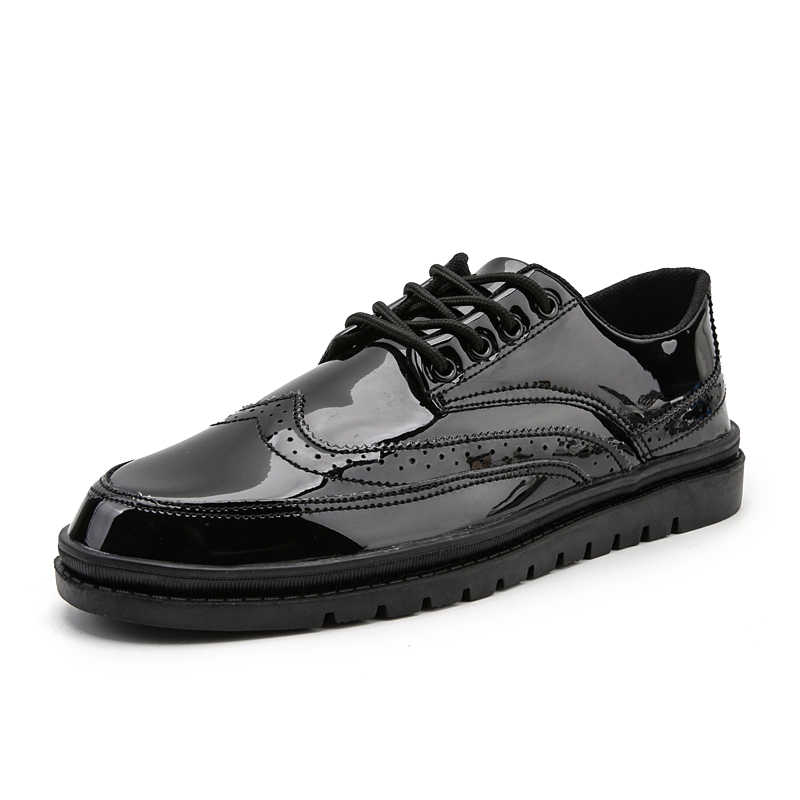 Mens סניקרס 2019 אופנה עור מפוצל נעלי גברים של נעליים יומיומיות עיצוב מבריק עור מוקסינים דירות זכר הנעלה זרוק חינם