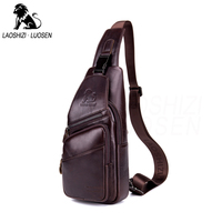 Genuine Leather Brown Casual Shoulder Bags for Men Vintage Multifunctional Leather Vintage Crossbody Bags Unisex Chest Packs