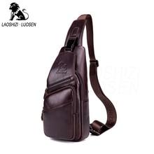 Genuine Leather Brown Casual Shoulder Bags for Men Vintage Multifunctional Crossbody Unisex Chest Packs