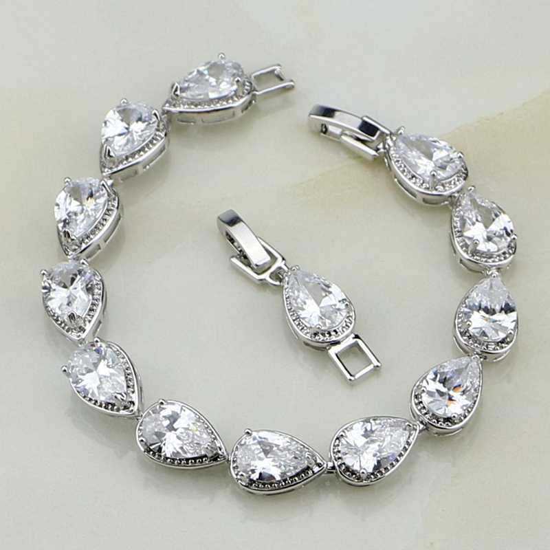 Trendy White Cubic Zirconia 925 Sterling Silver Water Drop Link Chain Bracelet 7 inch For Women Free Shipping & Jewelry Bag S087