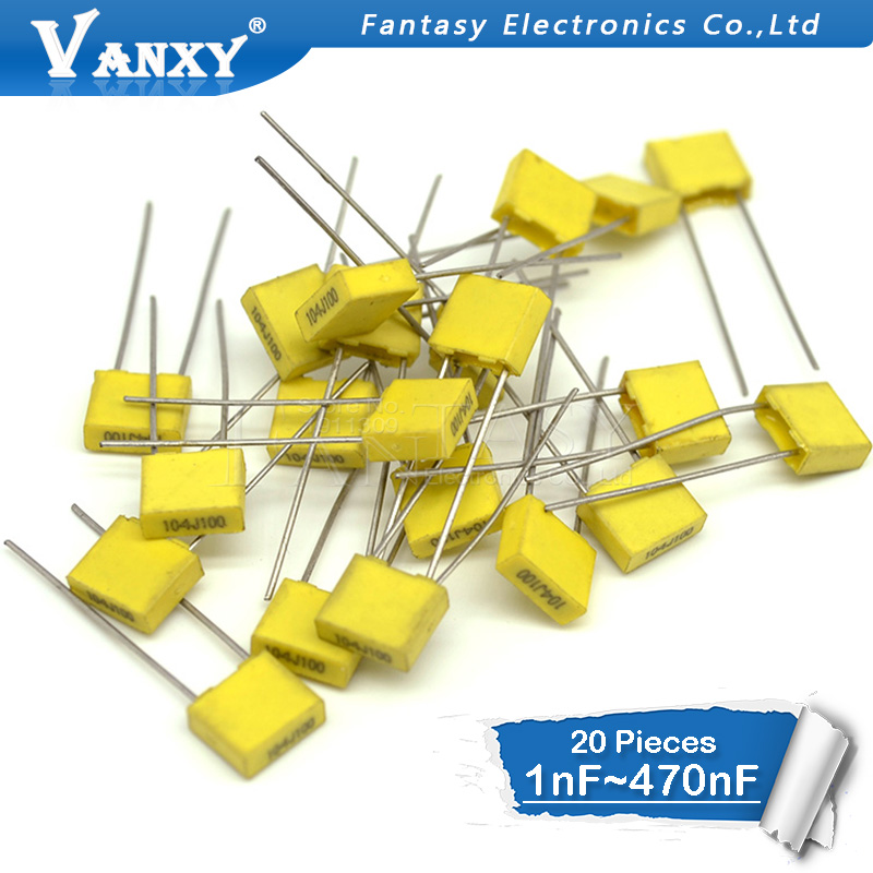 20pcs Polypropylene Safety Plastic Film  100V 1nF ~ 470nF 100nf 220nf 10nf 47nf 22nf 1nf 0.47uf 0.1uf Correction Capacitor