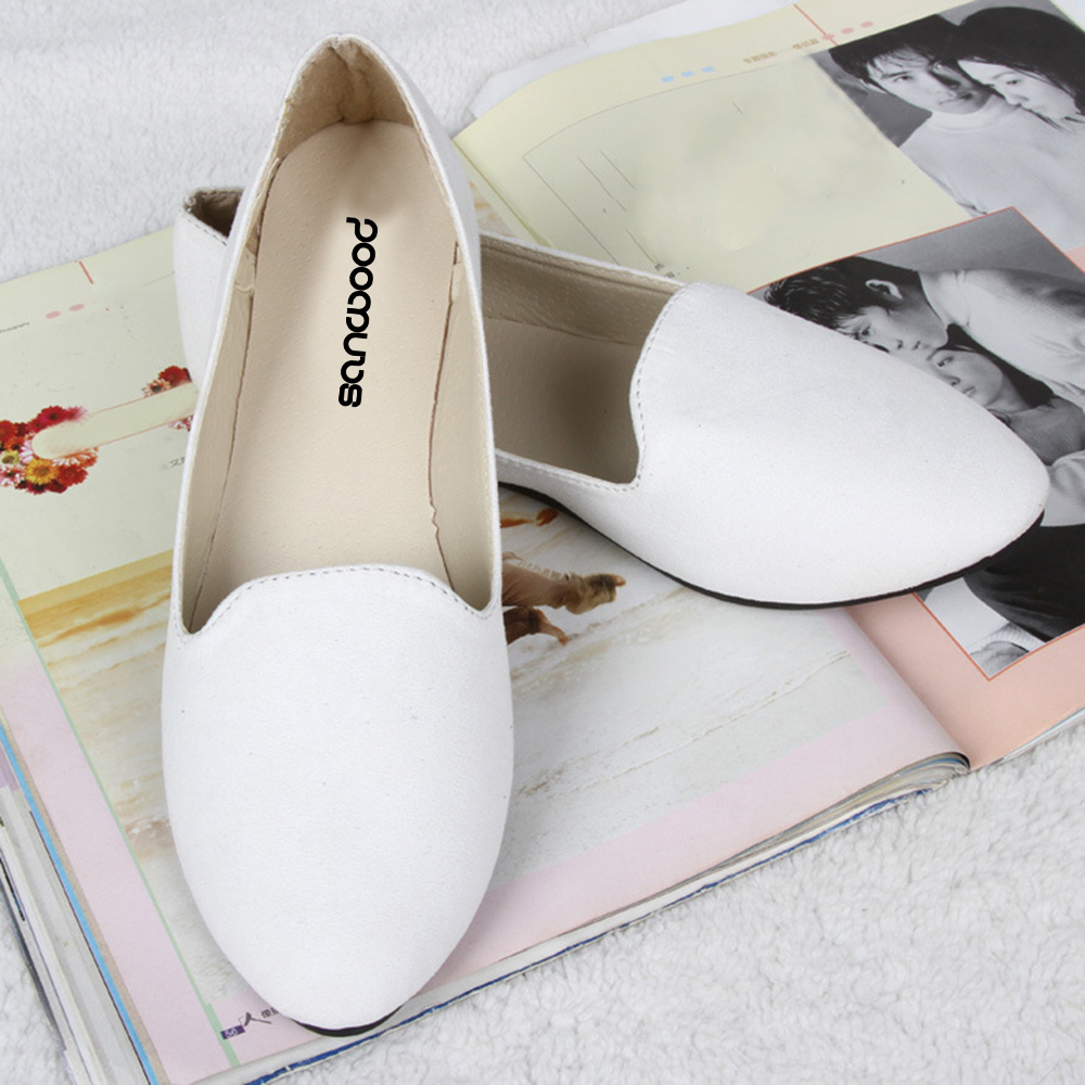 73abe8fd70f Hot New Woman Fashion Pure Color Ballet Flats Flat Shoes Ballerinas Casual  Shoes Loafers-in Women s Flats from Shoes on Aliexpress.com