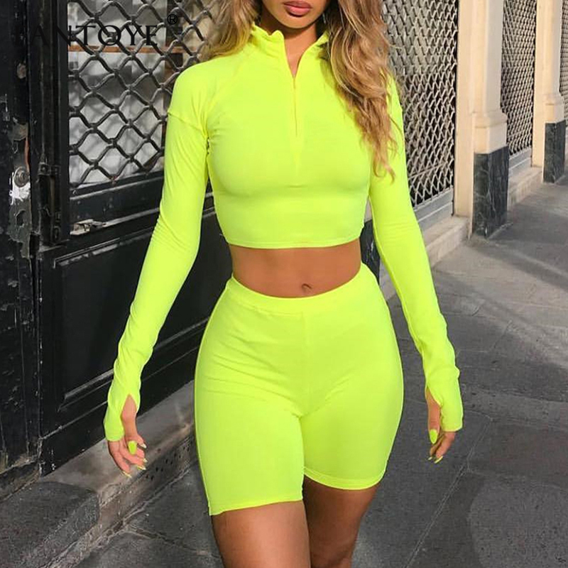 Fantoye Two Piece Set Fluorescent Green Top Shorts Suit Sexy Turtleneck Long Sleeve Bodycon Sport Suit Casual Femme Tracksuit