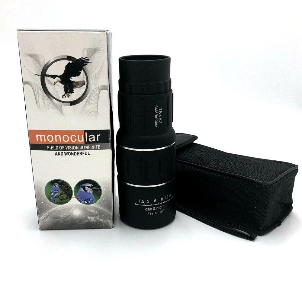 16x52 enfoque Dual Monocular de la localización telescopio Zoom óptico lente Binocular caza óptica con soporte de teléfono para al aire libre deportes