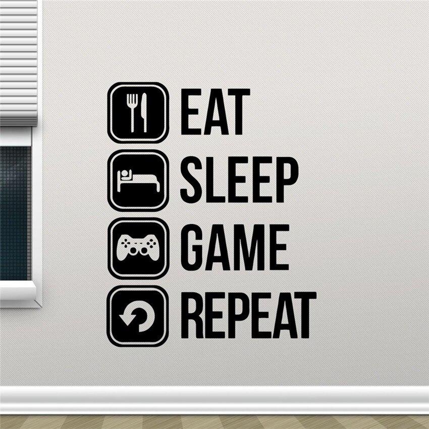 Eat Sleep Game Repeat Vinyl Wall Sticker Joystick Gamepad