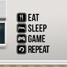 Eat Sleep Game Repeat Vinyl wall Sticker Joystick Gamepad Gamer Wall Art Design Decal Teen Room mural