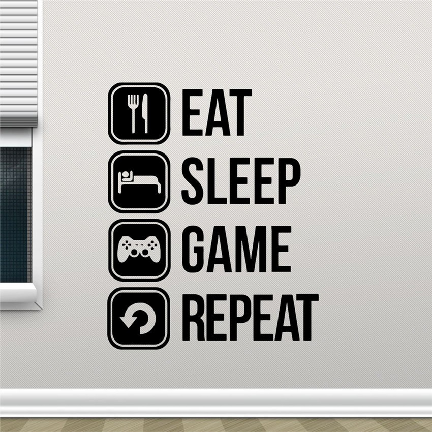 Eat Sleep Game Repeat Vinyl wall Sticker Joystick Gamepad Gamer Wall Art Design Decal Teen Room mural ...