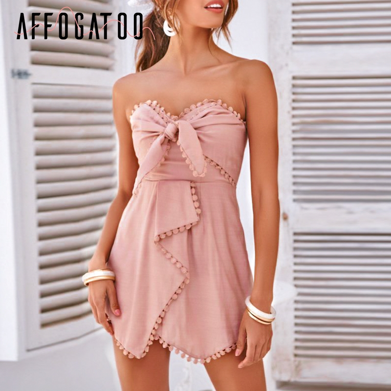 Affogatoo Sexy elegant lace strapless summer jumpsuit women Bohemian bow cotton short jumpsuit Beach romper female playsuit 2019