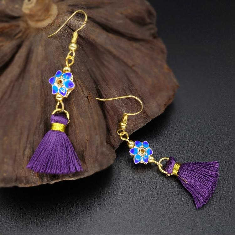 vintage ethnic jewelry dangle tassel earrings purple,fashion cloisonne vintage earrings,new ethnic earrings