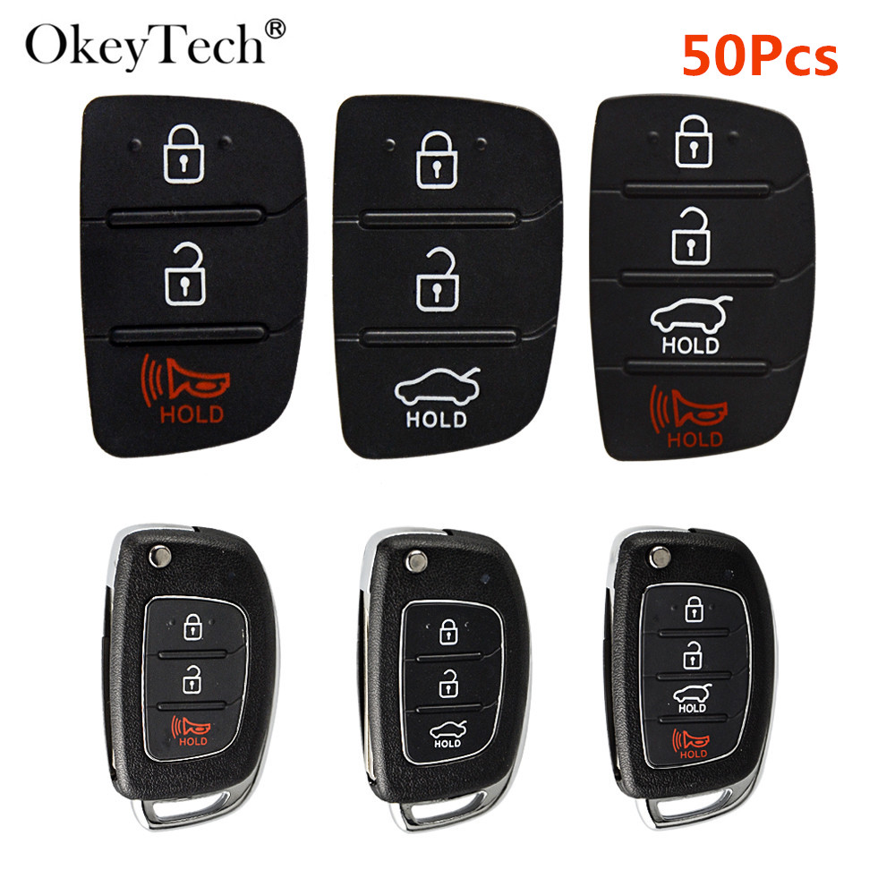 OkeyTech 3/4 Buttons 50pcs Replacement Flip Car Remote Key Shell Key Repair For Mistra Hyundai HB20 SANTA FE IX35 IX45 Key Cover