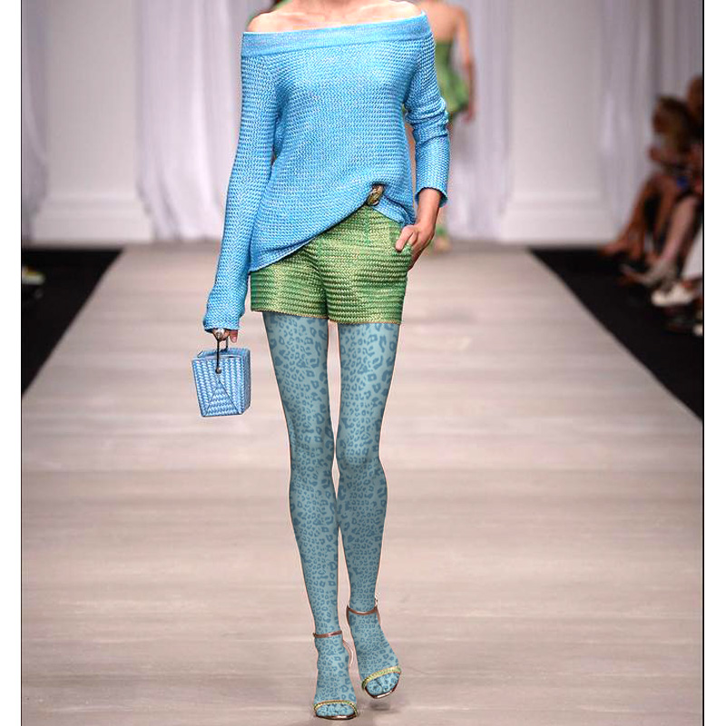 Women Lake Blue Leopard Print Pantyhose Stockings Velvet Fashion Tights Hosiery