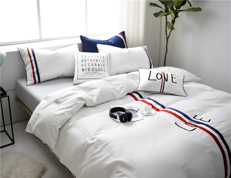 2018 100% Egyptian Cotton Nordic Style Stripes Applique Pattern Duvet Cover Bed Sheet Set White