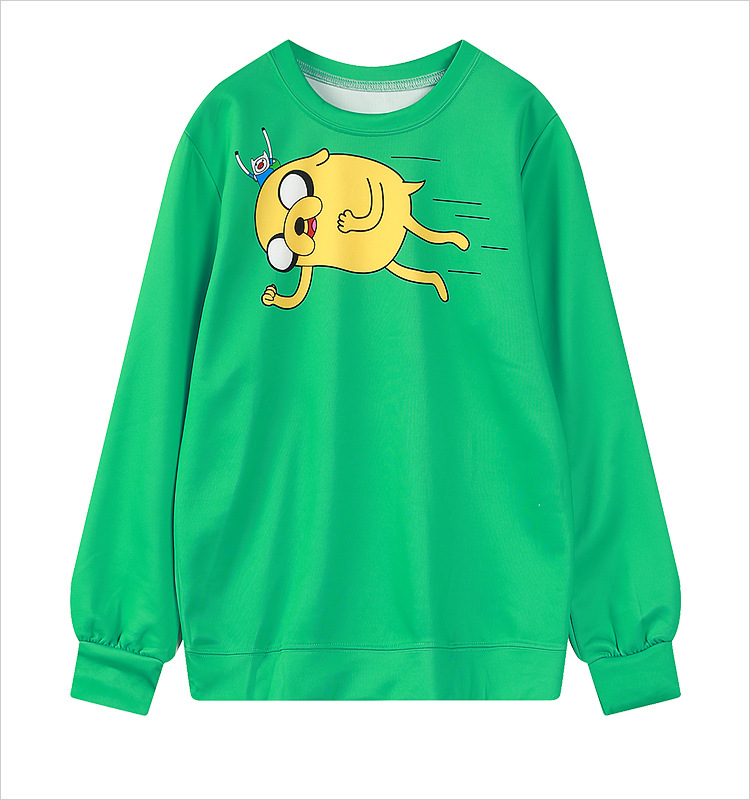 77097a8653ff Harajuku 3D Print Adventure go Finn Jake Sweatshirts Fashion Long sleeve  Women Hoodies Cartoon Jake Dog Green Hooded Pullover-in Hoodies    Sweatshirts from ...