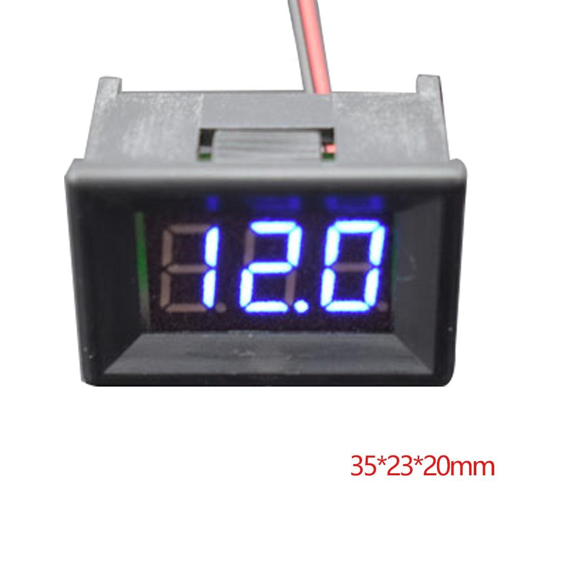 LED Display Blue Digital Panel Voltage Meter Two Wires 0.36 inch DC 4.50V-30.0V Voltage Detector Monitor Digital Voltmeter