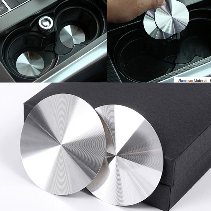 2pcs Aluminum Console Cup Holder Pad for Mercedes Benz A B C E GLC CLA GLA ML GL Class W176 W204 W205 W212 W213 X166 Car Styling