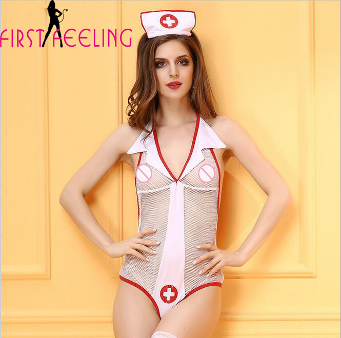 Slips Spirited Sexy Adult Women White Fishnet Teddies Bodysuit Erotic Nurse Uniform Lingerie Cosplay Naughty Hospital Doctor Office Games Slips