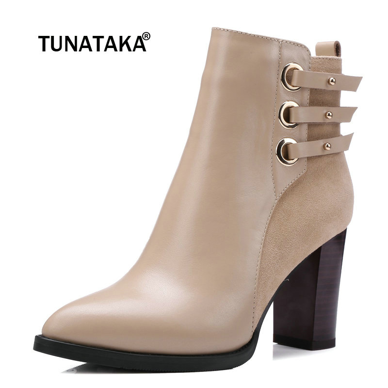 Genuine Leather Square High Heel Buckle Woman Ankle Boots Fashion Pointed Toe Zipper Ladies Boots Black Apricot очки поляризационные cafa france cf80782