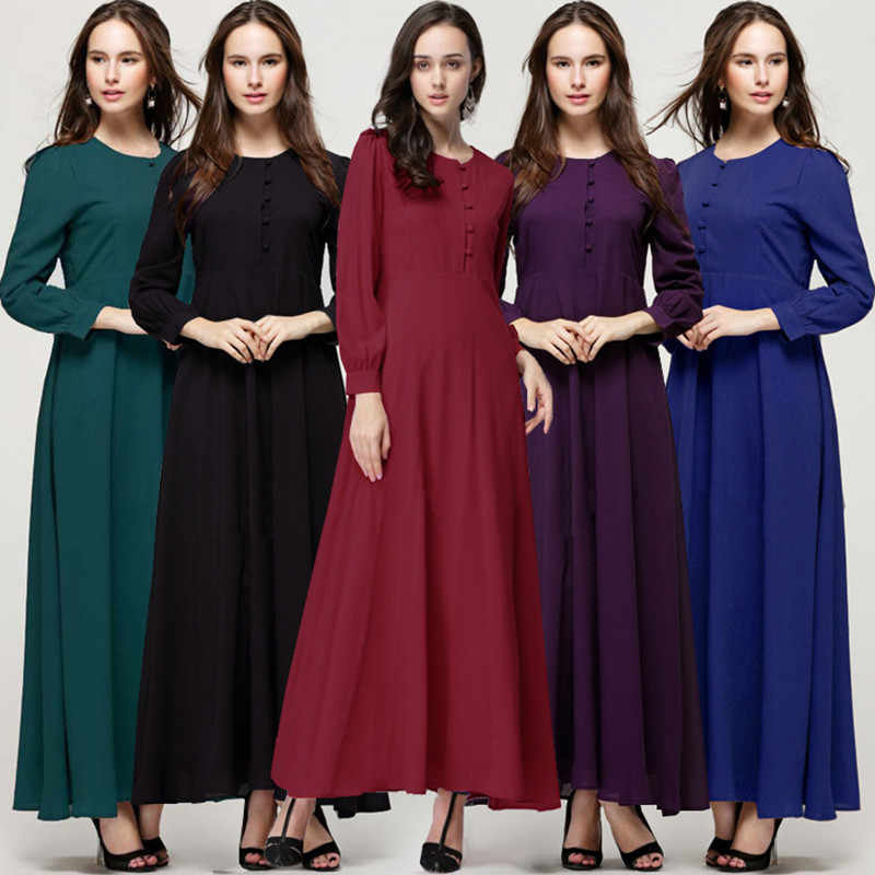 7db066b39b800 HANZANGL Muslim Women Long Sleeve Hijab Dress Maxi Abaya Elegant ...
