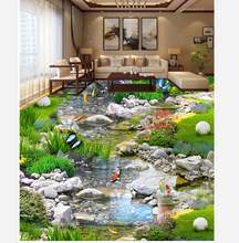 waterproof wall murals Park landscape water grass carp 3D floor pvc self-adhesive wallpaper Home Decoration(China)