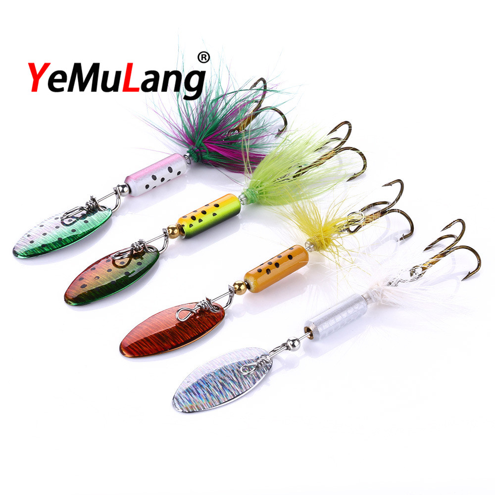 YeMuLang 1Pcs  3.5gMetal Sequins Fishing Lure Spoon  Paillette Hard Baits with  8# Treble Hook Pesca For Fishing