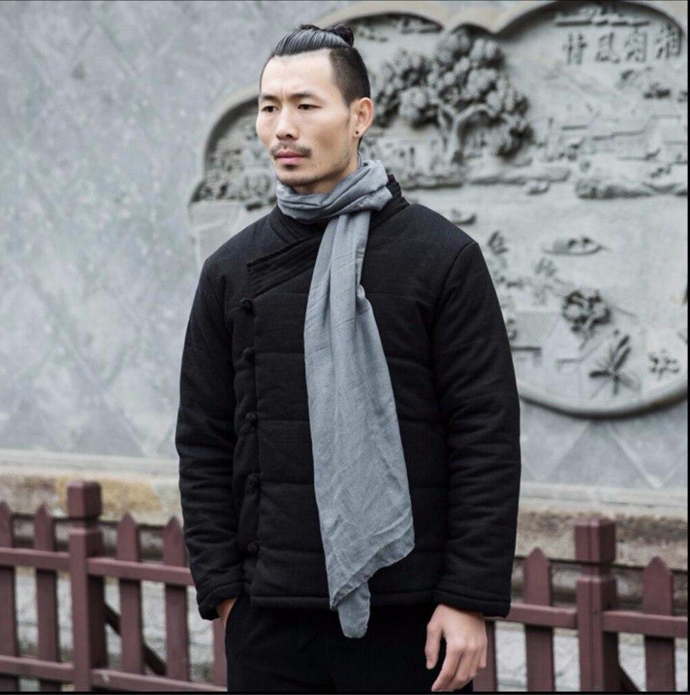 M 3xl Winter Chinese Stijl Katoen Gewatteerde Jassen Mannen Mode Toevallige Gesp Jas Jonge Retro Dikker Katoenen Jas Linnen Kleding - 3