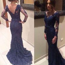 2015 lange Sexy Vestido De Partei Dark Blue Abendkleider Spitze V-ausschnitt Langarm Mermaid Abendkleid Kleider