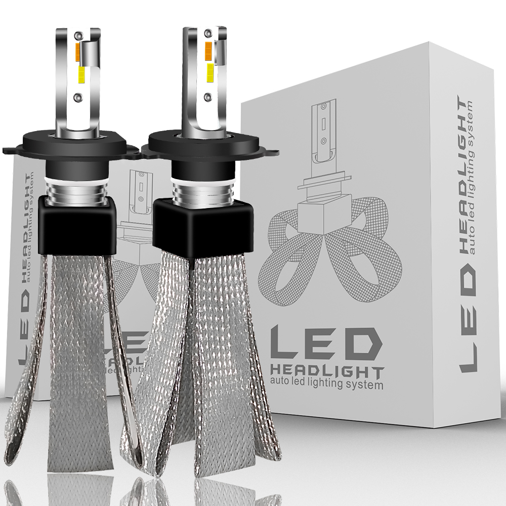 EURS H4 LED H7 H8 H11 9005 9006 Car Headlights 80W 9600LM 3000K 4300K 6000K 12V 24V High Bright LED T9 Headlight Kit Beam Bulbs image