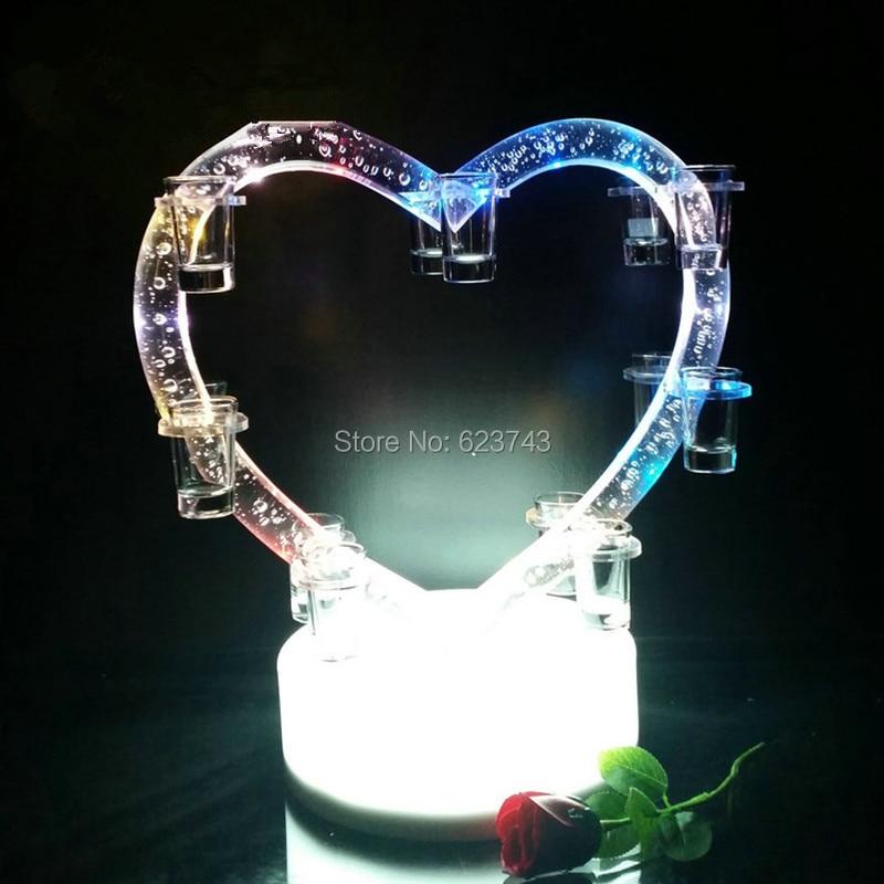 New Rechargeable Color Changing Plastic Heart Shape Plastic LED Wine Holder Led Shot Glass Wine Rack