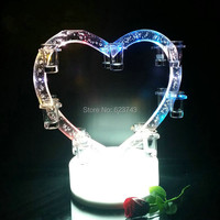 New Rechargeable Color Changing Plastic Heart Shape Plastic LED Wine Holder Led Shot Glass Wine Rack
