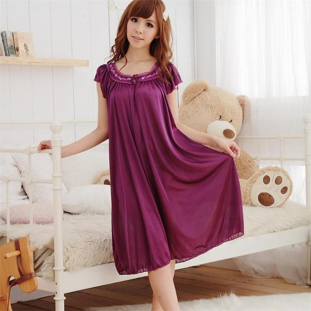 Free Shipping New Women Summer Plus Size Ice Silk Nightgown Female Large  Size Short Sleeve sleepwear Homewear Dress 2672167b23bc
