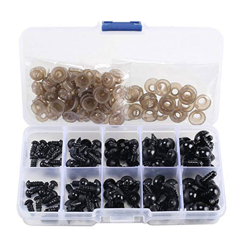 100pcs 6-12mm Black Plastic Crafts Safety Eyes For Teddy Bear Soft Toy Animal Doll Amigurumi DIY Accessories