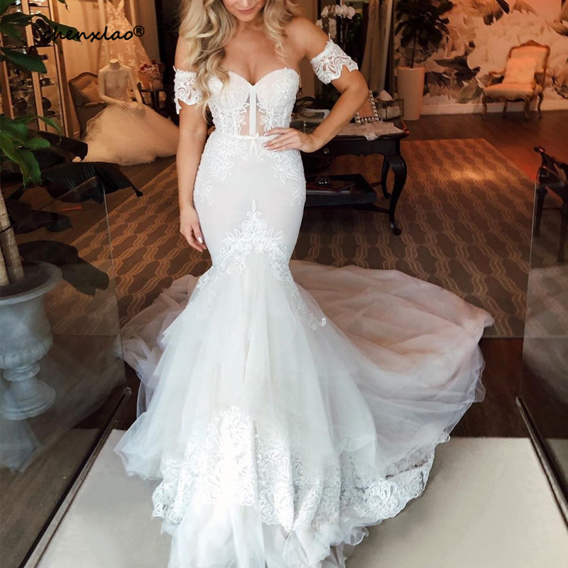 CHENXIAO Sexy Mermaid Wedding Dresses 2019 Sweetheart Sleeveless Court Train Bridal Gowns Vestido De Noivas Bridal Dress