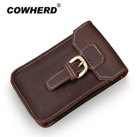 High Quality Crazy Horse Leather Waist Pack Male Genuine Leather Cowhide Handmade Casual Mobile Phone Bags