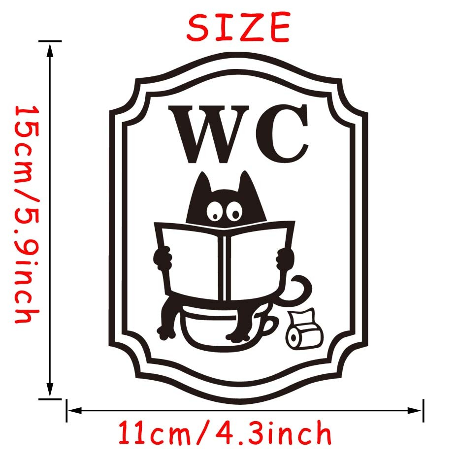 Funny Cat Bathroom Read a Book Toilet Stickers Fashion Style Vinyl Door Stickers Removable Self Adhesive Wallpaper Home Decor