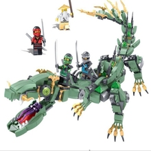 Green Ninja flying machine armor Dragon  Aerocraft DIY Building Blocks Kit Toys Kids Best Gifts lis 1173pcs ninja new 10584 dragon s forge diy model building kit blocks gifts toys compatible with lepin