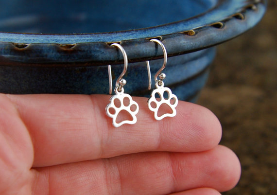 Paw Print Outline Charm Earrings Silver Pawprint Cat Paw