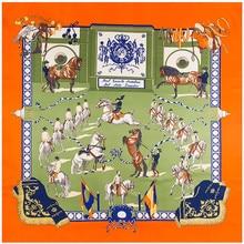 130cm Twill Silk Scarf Horse Printing Big Square Scarf Women Bandana Shawl Luxury Brand Foulard Scarves Wraps For Ladies Echarpe