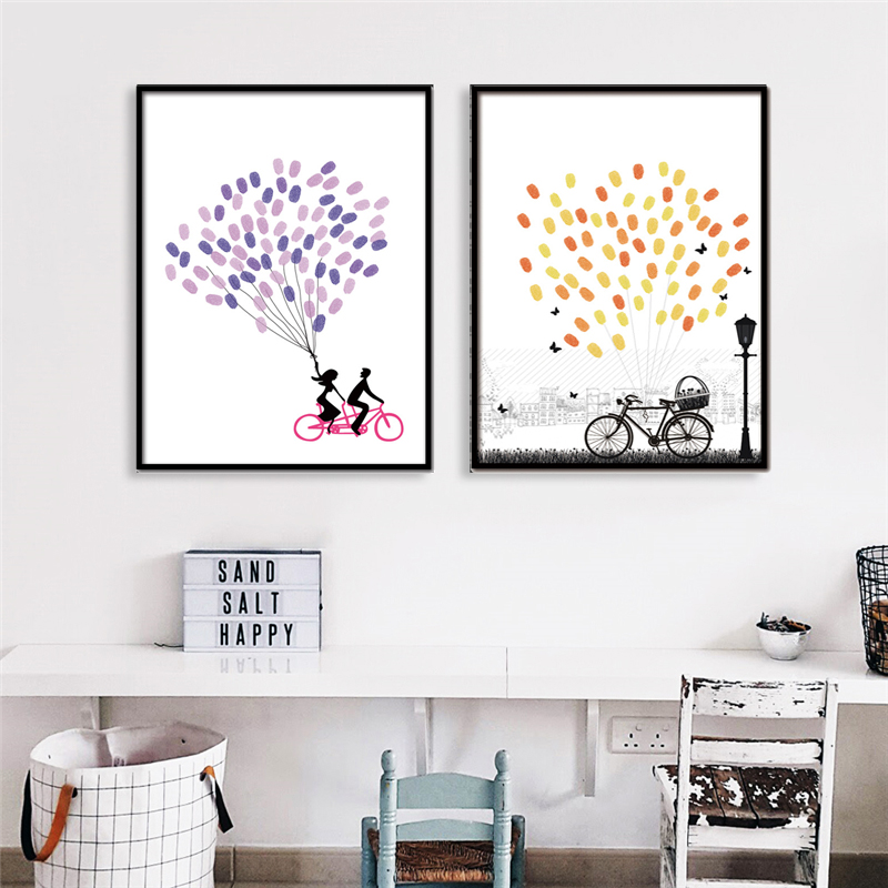 Pretty DIY Art Print Finger Graffiti Nordic Canvas Painting Hand Drew Poster With No Frame Best