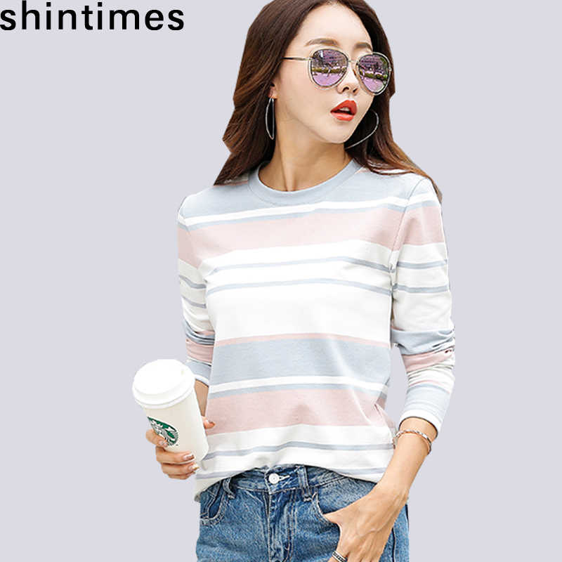 shintimes New 2019 Autumn White Striped Female T-Shirt Long Sleeve T Shirt Women Clothes Casual Cotton Fashion Tee Shirt Femme