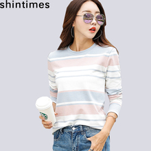 shintimes New 2019 Autumn White Striped Female T-Shirt Long Sleeve T Shirt Women Clothes Casual Cotton Fashion Tee Femme