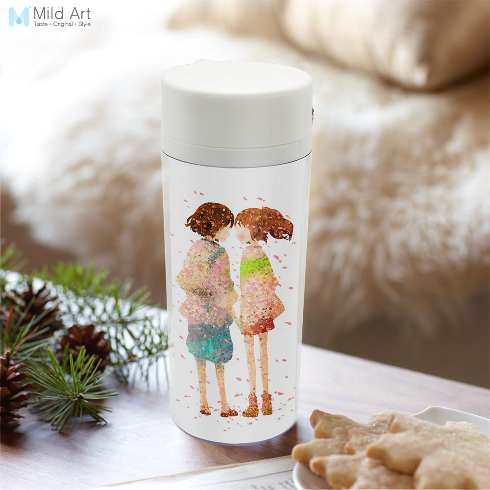 Plastic Insulated Original Watercolor Japanese Anime Spirited Away Water Bottle 300ml Gift BPA Free With Lid Personalized